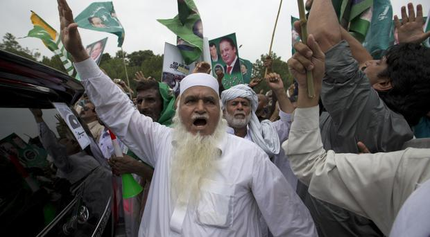 Supporters of Nawaz Sharif at a rally in Islamabad (AP)