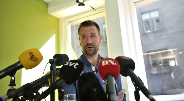 Johan Gustafsson speaks during a press conference in Stockholm (Vilhem Stockstad / TT via AP)