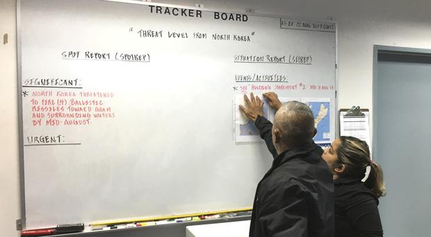 Guam Homeland Security opens its 24-hour watch room operation in response to the threats from North Korea (AP)