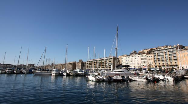 A vehicle has rammed into two bus stops in the port city of Marseille