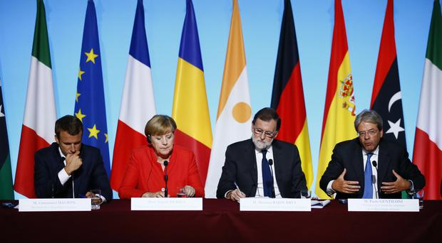 European leaders during a press conference. (AP)