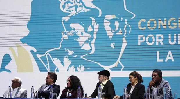 Leaders of the Revolutionary Armed Forces of Colombia (Farc) launching their political party in Bogota AP Photo/Fernando Vergara, File)