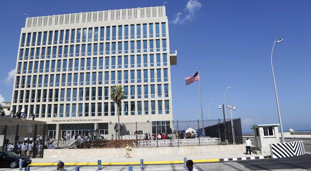 The US embassy in Havana, as it emerged that 19 American diplomats who served in Cuba have been diagnosed with mild traumatic brain injury following mysterious attacks on their health (AP Photo/Desmond Boylan)
