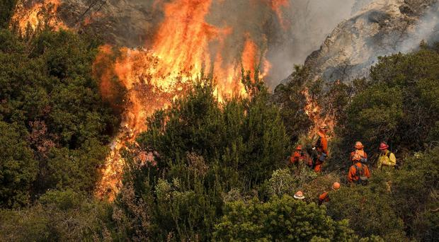 A California Department of Forestry and Fire Protection crew fight a brushfire on the hillside in Burbank, California (AP Photo/Ringo H.W. Chiu)