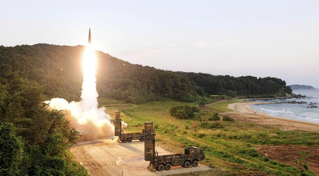 A Hyunmoo II ballistic missile is fired during an exercise at an undisclosed location in South Korea (South Korea defence ministry via AP)