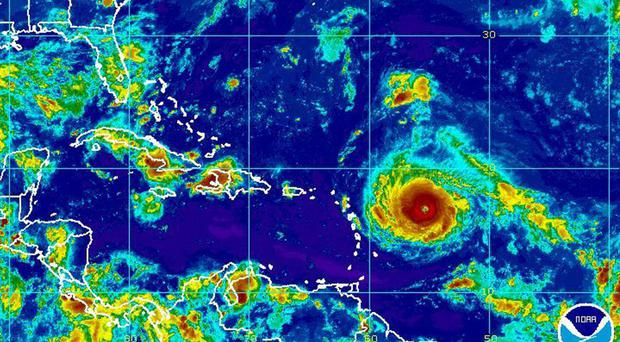 Satellite image showing Hurricane Irma nearing the eastern Caribbean (NOAA/ AP)