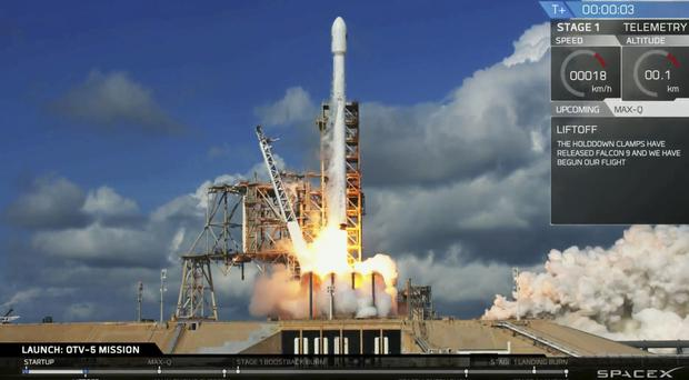 An unmanned Falcon rocket launches from Florida'sKennedy Space Centre (SpaceX/AP)