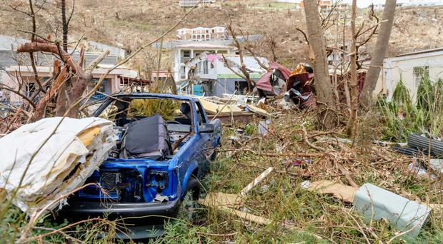 Cars and homes wrecked after the hurricane in the British Virgin Islands