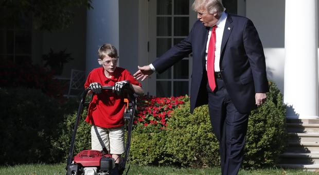 11-Year-Old Frank Mows The White House Lawn