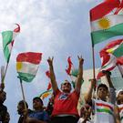 Kurdish flags at a demonstration in Lebanon (AP)
