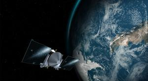 The Osiris-Rex spacecraft above the Earth (Conceptual Image Lab/Goddard Space Flight Centre/Nasa/AP)