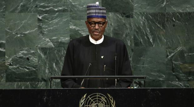 President Muhammadu Buhari of Nigeria addresses the United Nations general assembly (AP)