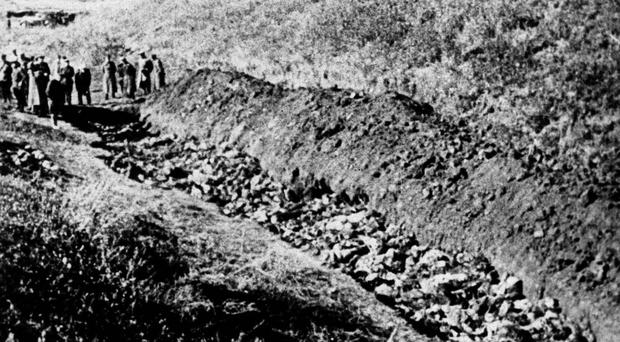A 1944 file photo of part of the Babi Yar ravine at the outskirts of Kiev, Ukraine where the advancing Red Army unearthed the bodies of 14,000 civilians killed by fleeing Nazis in 1944 (AP)