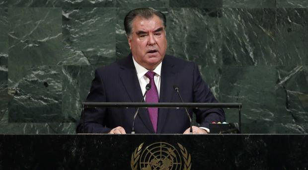 President Emomali Rahmon of Tajikistan addresses the United Nations general assembly (AP)