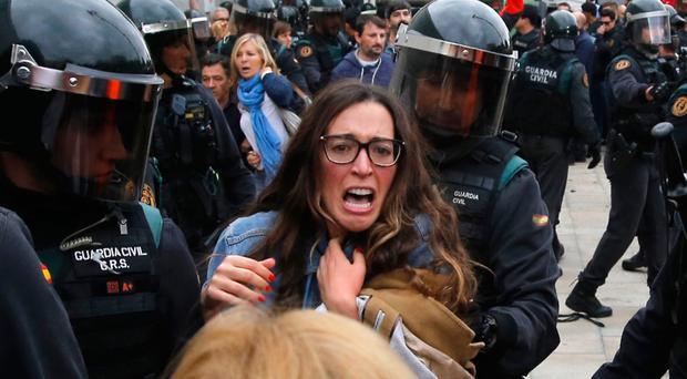 Police were ordered to stop people from voting in the referendum on Catalan independence