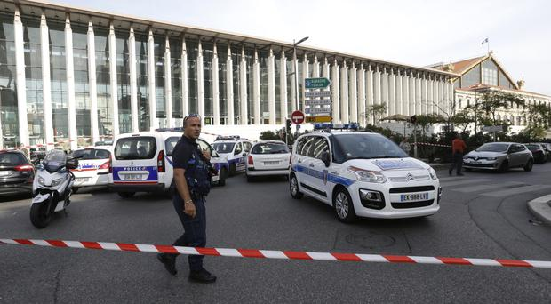 Marseille's main train station was cordoned off following a knife attack that left two dead (AP Photo/Claude Paris)