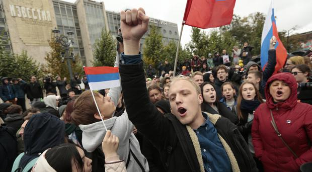A rally in favour of opposition leader Alexei Navalny in Moscow (AP)