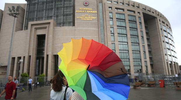 Istanbul's central court where human rights activists including Idil Eser, Amnesty International's Turkey director, appeared to face charges (AP)