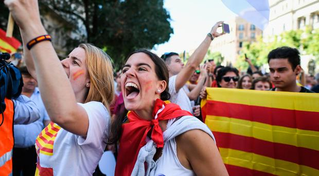 Marchers in yesterday's Pro-Unity rally in Barcelona