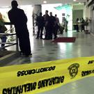 An entrance to the courthouse is cordoned off as the trial of two women accused of killing the North Korean leader's half-brother Kim Jong Nam is held (Vincent Thian/AP)