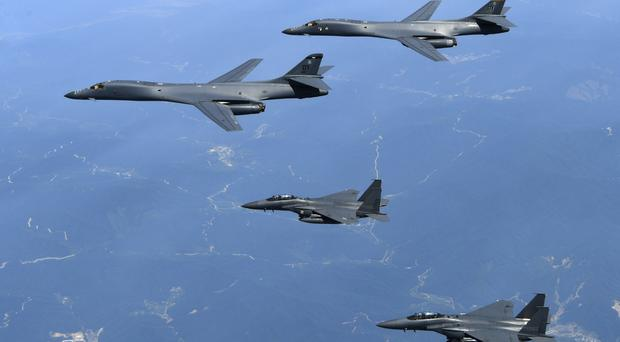 Two B-1B supersonic bombers flew from an air base in the US territory of Guam to the South for drills with South Korean jets on Tuesday night (File photo from the South Korean Defence Ministry via AP)