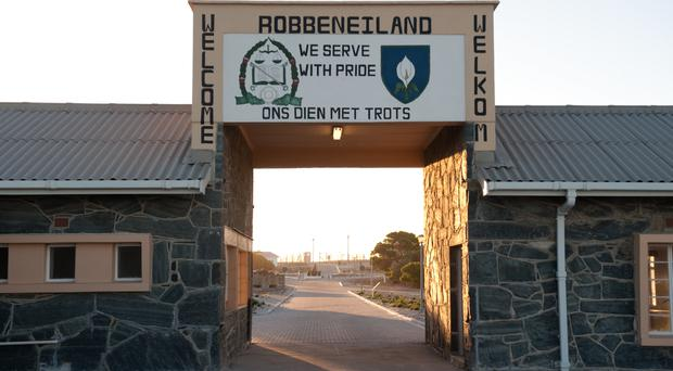 Library picture of apartheid-era Robben Island prison near Cape Town