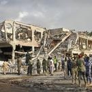 The scene of Saturday's blast in Mogadishu, Somalia (AP)