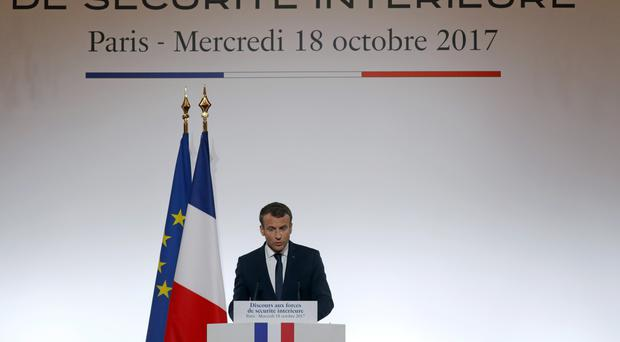 Mr Macron laughed the incident off (AP)