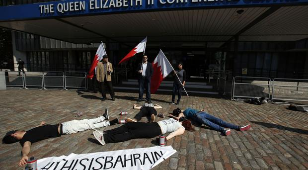 Activists at a 2014 conference held to highlight the government of Bahrain's human rights record
