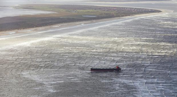 The Glory Amsterdam ran aground off the shore of the German North Sea island of Langeoog (dpa/AP)