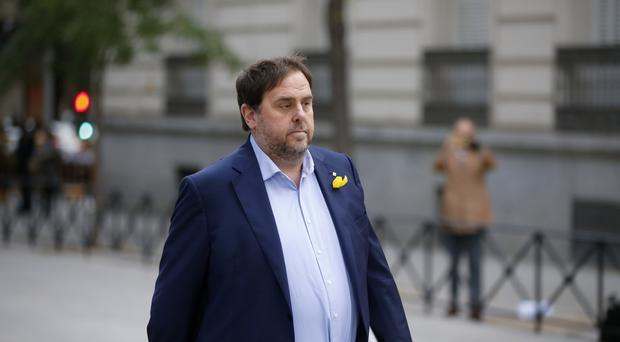 Oriol Junqueras arrives at the national court in Madrid (AP)