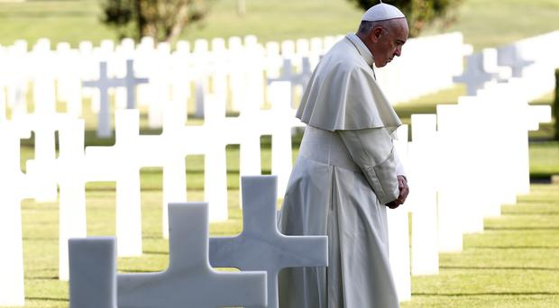 'No more war' pope demands in Mass