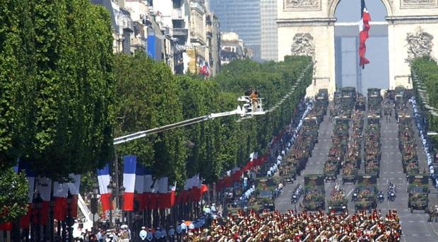 The Champs Elysees pictured on Bastille Day