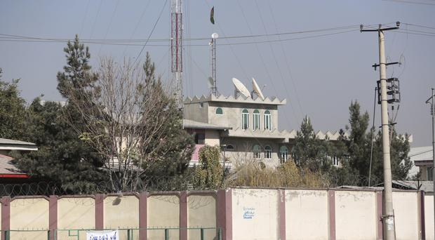 The Shamshad TV building after an attack in Kabul (AP)
