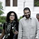 Alaa Abdel-Fattah pictured with his sister Mona Seif (AP)