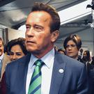 Arnold Schwarzenegger arrives at the COP23 UN climate conference in Bonn (AP/Dorothee Thiesing)
