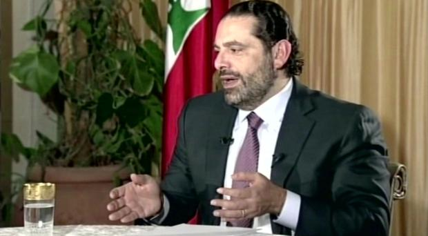 Lebanon Prime Minister Saad Hariri gives a live TV interview in Riyadh (Future TV/AP/PA)