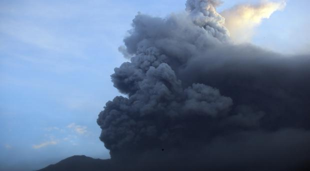 Mount Agung volcano erupted on the tourist island of Bali for the second time in a week (AP Photo/Firdia Lisnawati)