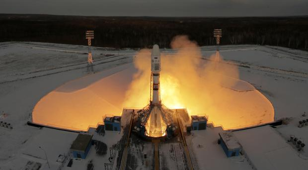 A Russian Soyuz 2.1b rocket lifts off from the launch pad at Vostochny cosmodrome outside the city of Tsiolkovsky (AP)