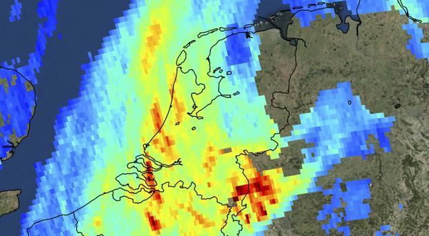 High levels of atmospheric nitrogen dioxide over the Netherlands and the Ruhr area in west Germany (KNMI/ESA/AP)