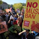 Protesters against the ban at a rally in Washington (AP/Manuel Balce Ceneta)
