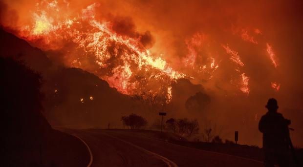 Fire burns through Los Padres National Forest near Ojai, California, on Friday (AP/Noah Berger)