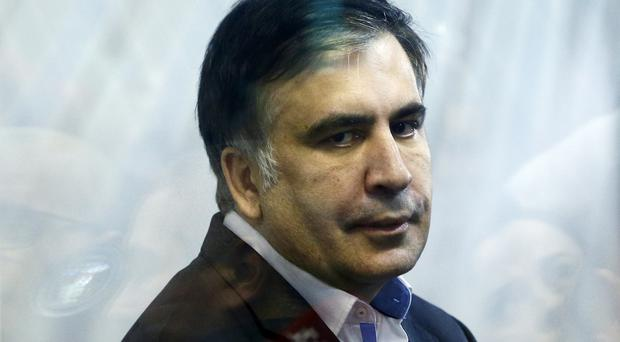 Former Georgian president Mikheil Saakashvili waits for a hearing in a court room in Kiev, Ukraine (AP)