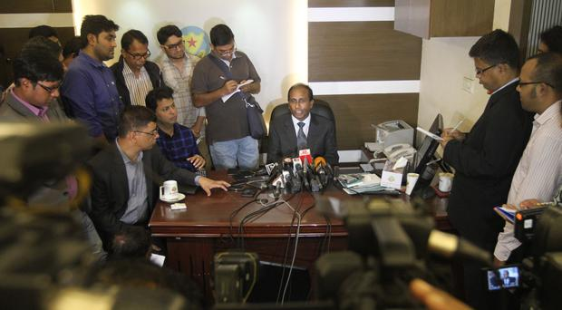 Monirul Islam, a top official of Bangladeshs counterterrorism department addresses the media (AP)