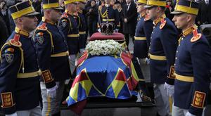 Honour guard next to the coffin of late King Michael during the funeral ceremony outside the former royal palace in Bucharest, Romania (AP Photo/Vadim Ghirda)