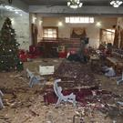 The main hall of the church in Quetta, Pakistan, following an IS suicide attack (AP Photo/Arshad Butt)