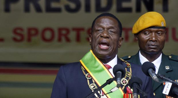 Emmerson Mnangagwa being sworn in at a presidential inauguration ceremony last month (AP)