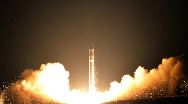 North Korea tested the Hwasong-15 intercontinental ballistic missile at an undisclosed location in November (Korean Central News Agency/Korea News Service via AP, File)