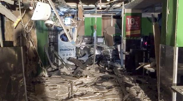 Damage inside a supermarket after an explosion in St Petersburg (National Antiterrorism Committee via AP)