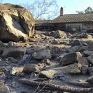 Homes were destroyed along San Ysidro Creek near East Valley Road in Montecito, California (Mike Eliason/Santa Barbara County Fire Department via AP)
